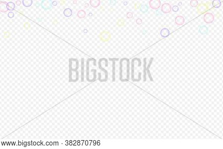 Blue Foam Realistic Transparent Background. Water Soapy Design. Rainbow Air Soapy Ball Postcard.