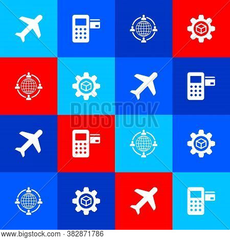 Set Plane, Pos Terminal, Outsourcing Concept And Product Development Icon. Vector