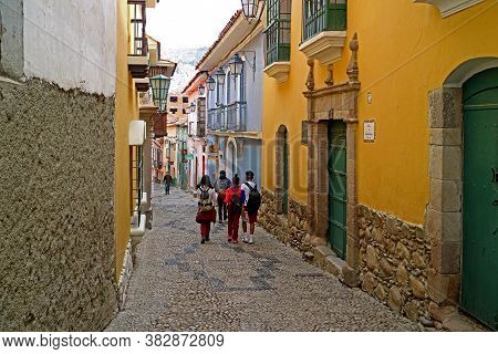 Calle Jaen, The Artistic Narrow Street With Many Of Impressive Colonial Buildings In La Paz, Bolivia