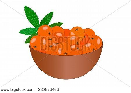 Bowl Of Delicious Juicy Rowan Isolated On White Background. Big Pile Of Fresh Orange Rowan In The Br