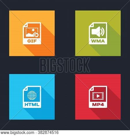 Set Gif File Document, Wma, Html And Mp4 Icon. Vector