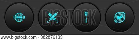 Set Barbecue Grill, Grilled Shish Kebab, Spatula And With Steak Icon. Vector