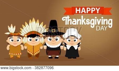 Happy Thanksgiving, Greeting Card, Poster Or Flyer For Holiday. Funny Thanksgiving Pilgrim Boy, Girl