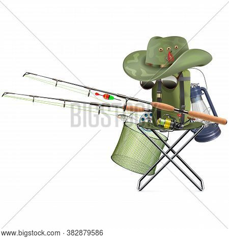 Vector Fishing Tackle With Folding Chair Isolated On White Background