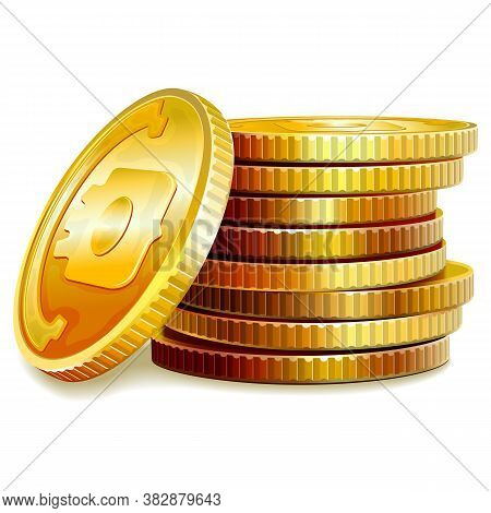 Vector Golden Coins Isolated On White Background