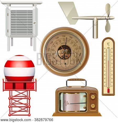 Vector Meteorological Equipment Icons Isolated On White Background