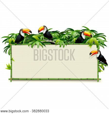 Vector Green Bamboo Board With Toucans Isolated On White Background