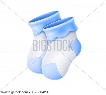 Vector Wool Baby Socks. Newborn Baby Cute Socks 3d