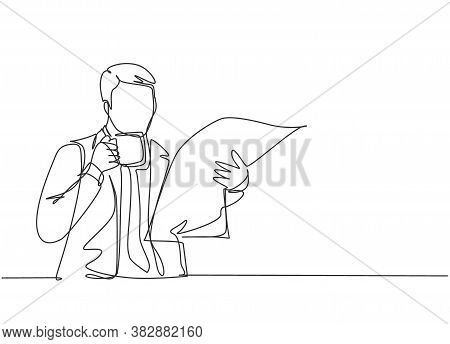 One Continuous Line Drawing Of Young Happy Business Man Holding Coffee Mug While Reading Tabloid Hea