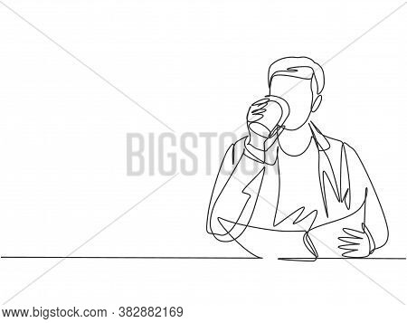 Single Continuous Line Drawing Of Young Happy Startup Manager Reading Economic News On Business News