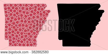 Vector Virus Mosaic And Solid Map Of Arkansas State. Map Of Arkansas State Vector Mosaic For Geograp