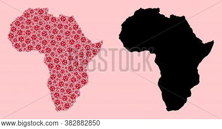 Vector Covid-2019 Virus Mosaic And Solid Map Of Africa. Map Of Africa Vector Mosaic For Lockdown Cam