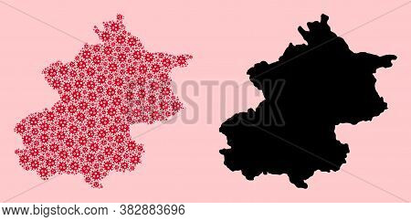 Vector Covid-2019 Virus Mosaic And Solid Map Of Beijing Municipality. Map Of Beijing Municipality Ve