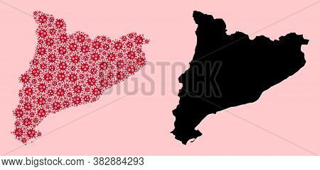 Vector Covid-2019 Virus Mosaic And Solid Map Of Catalonia. Map Of Catalonia Vector Mosaic For Geogra