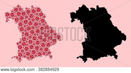 Vector Pandemic Virus Mosaic And Solid Map Of Bavaria State. Map Of Bavaria State Vector Mosaic For