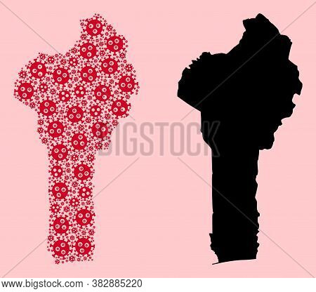 Vector Pandemic Virus Mosaic And Solid Map Of Benin. Map Of Benin Vector Mosaic For Quarantine Campa