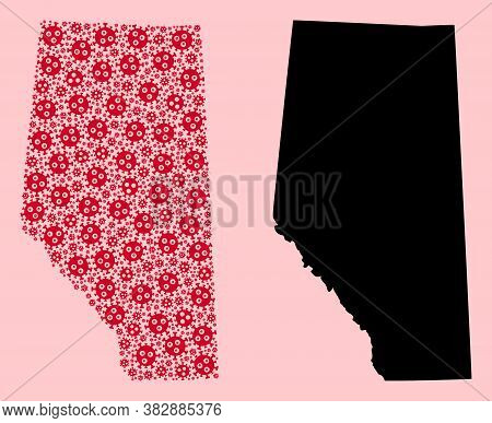 Vector Flu Virus Mosaic And Solid Map Of Alberta Province. Map Of Alberta Province Vector Mosaic For