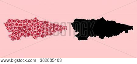 Vector Flu Virus Mosaic And Solid Map Of Asturias Province. Map Of Asturias Province Vector Mosaic F