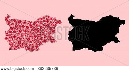 Vector Sars Virus Mosaic And Solid Map Of Bulgaria. Map Of Bulgaria Vector Mosaic For Quarantine Cam