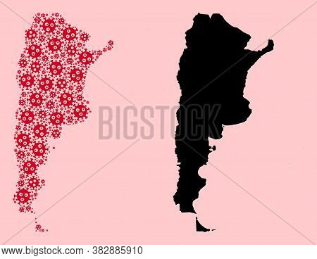 Vector Sars Virus Mosaic And Solid Map Of Argentina. Map Of Argentina Vector Mosaic For Hospital Cam