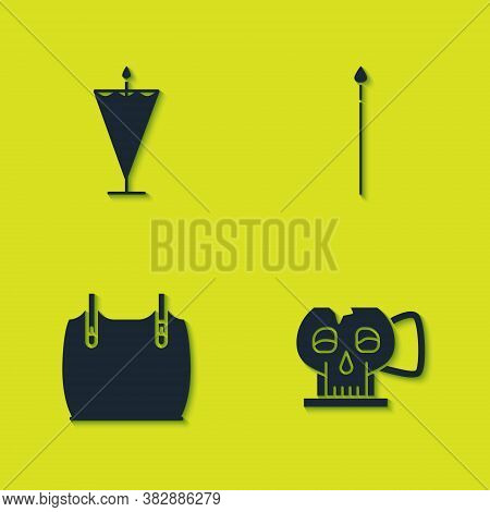 Set Medieval Flag, Cup From The Skull, Body Armor And Spear Icon. Vector