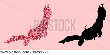 Vector Flu Virus Mosaic And Solid Map Of Honshu Island. Map Of Honshu Island Vector Mosaic For Treat