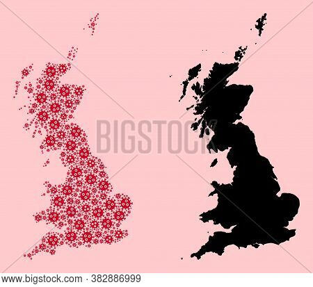 Vector Flu Virus Mosaic And Solid Map Of Great Britain. Map Of Great Britain Vector Mosaic For Outbr