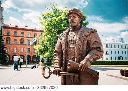 Minsk, Belarus - June 2, 2015: Statue Of The Mayor With The Key And A Royal Charter In The Hands Sym