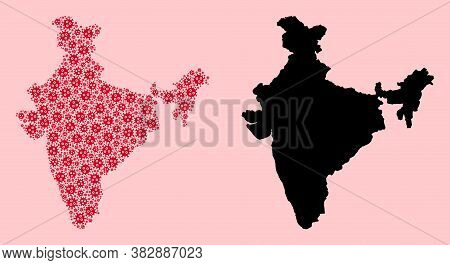 Vector Pandemic Virus Mosaic And Solid Map Of India. Map Of India Vector Mosaic For Isolation Campai