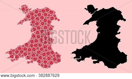 Vector Flu Virus Mosaic And Solid Map Of Wales. Map Of Wales Vector Mosaic For Treatment Campaigns A
