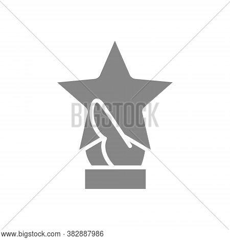 Hand Holds Star Grey Icon. Customer Review, Testimonials Symbol