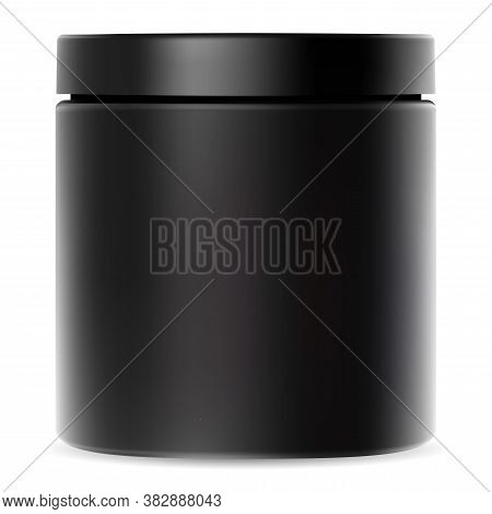 Black Jar. Plastic Container For Cream. Cosmetic Packaging Mockup With Glossy Lid For Whey Protein P