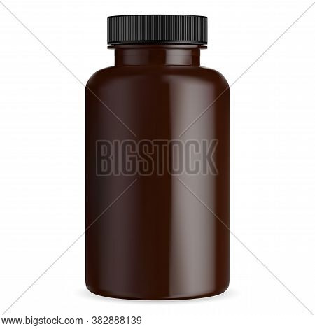 Brown Pill Bottle Mockup. Medical Tablet Capsule Vial. Amber Supplement Container With Black Lid. Cy