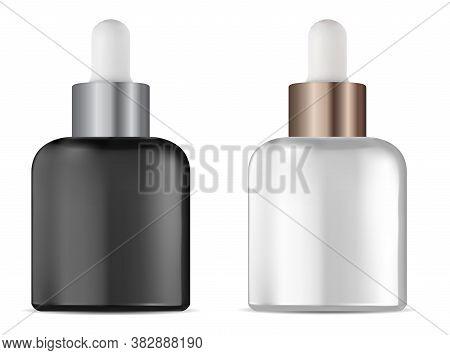 Dropper Bottle. Cosmetic Serum Eyedropper Vial Mock Up. Natural Treatment Liquid Packaging Blank, Is