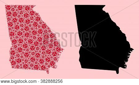 Vector Covid-2019 Virus Mosaic And Solid Map Of Georgia State. Map Of Georgia State Vector Mosaic Fo
