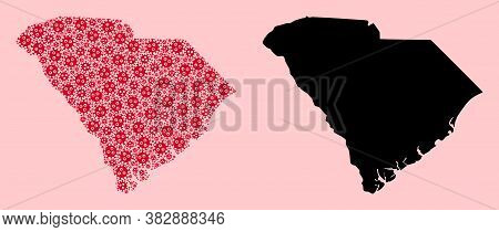 Vector Covid-2019 Virus Mosaic And Solid Map Of South Carolina State. Map Of South Carolina State Ve