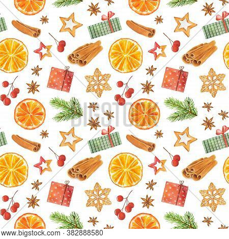 Watercolor Seamless Pattern With Christmas Gingerbread Cookies, Orange, Red Berries, Christmas Tree