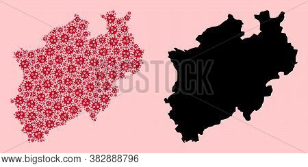Vector Infection Mosaic And Solid Map Of North Rhine-westphalia State. Map Of North Rhine-westphalia