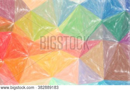 Abstract Illustration Of Blue, Orange, Pink, Red Low Coverage Pastel Background.