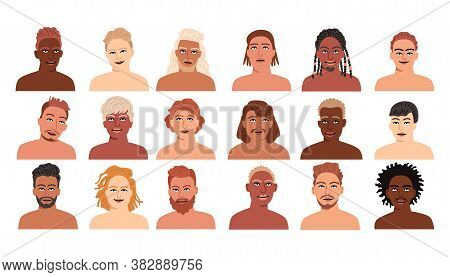 Set Of Men Different Nationalities. Collection Of Profile Portraits Or Heads Of Male Cartoon Charact