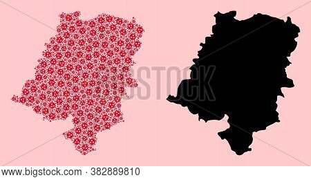 Vector Sars Virus Mosaic And Solid Map Of Opole Province. Map Of Opole Province Vector Mosaic For Is