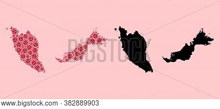 Vector Pandemic Virus Mosaic And Solid Map Of Malaysia. Map Of Malaysia Vector Mosaic For Treatment