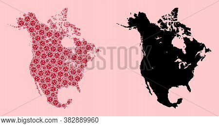 Vector Pandemic Virus Mosaic And Solid Map Of North America. Map Of North America Vector Mosaic For
