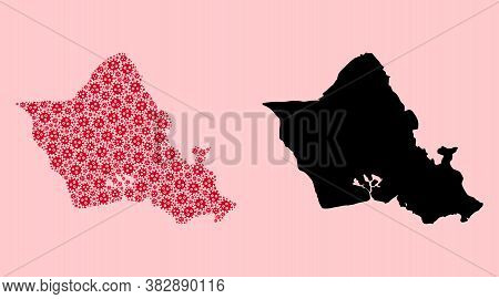 Vector Covid-2019 Virus Mosaic And Solid Map Of Oahu Island. Map Of Oahu Island Vector Mosaic For Do