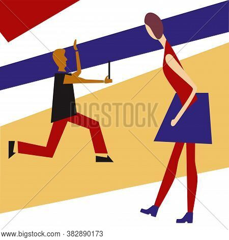 Vector Illustration Woman And Man Cubism Style. Man Run And Takes Selfie. Woman Looks At Him. Mix Mo