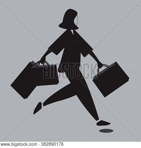 Silhouette Of Woman With Sopping Bags Is Running To Sale.vector Flat Illustration