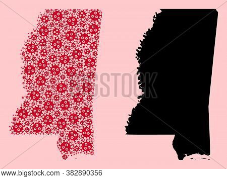 Vector Pandemic Virus Mosaic And Solid Map Of Mississippi State. Map Of Mississippi State Vector Mos