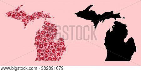 Vector Virus Mosaic And Solid Map Of Michigan State. Map Of Michigan State Vector Mosaic For Treatme