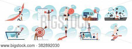 Business, Idea, Success, Teamwork Goal Achievement Set Concept. People Coworkers Businessmen Women C