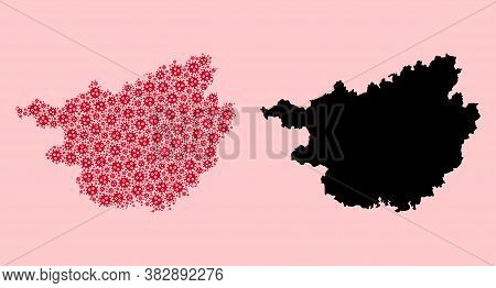 Vector Infection Mosaic And Solid Map Of Guangxi Zhuang Region. Map Of Guangxi Zhuang Region Vector